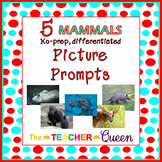 5 Mammals No-prep, Differentiated Picture Prompts for Writing