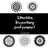 5 Mandalas to practice pencil pressure!