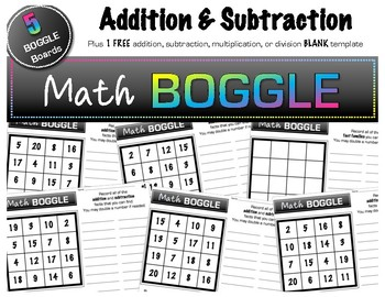 5 Math BOGGLE Boards (plus 1 FREE blank Board!) - Addition & Subtraction