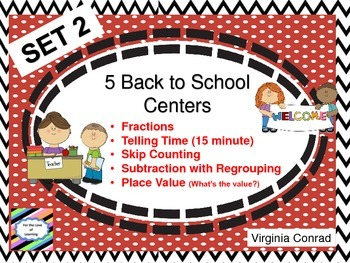 Back to School Math Centers---Set 2