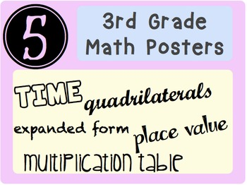 5 Math Posters: expanded form, place value, TIME, Mult. table, quadrilaterals