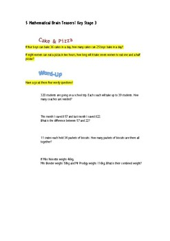 5 Mathematical Brain Teasers! Key Stage 3