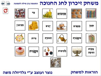 5 Memory Game for chanukkah word to photo Hebrew