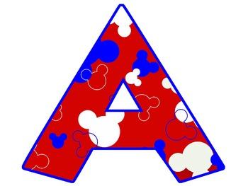 """5"""" Mickey Themed Letter - Red, white and blue"""