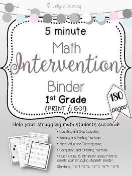 5 Minute 1st Grade Math Intervention Binder {{NO PREP}}