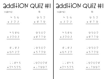 5 Minute Addition Quizzes