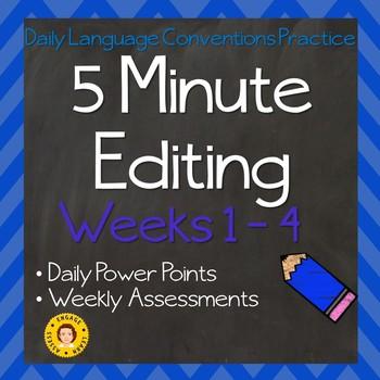5 Minute Grammar Editing for TEST PREP:  Weeks 1 - 4
