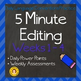 5 Minute Grammar Editing --  Weeks 1 - 4 ~ Daily Language Conventions Practice