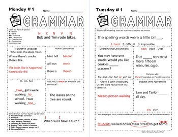 5 Minute Grammar, A Quick, Complete Approach to Grammar, FREE WEEK