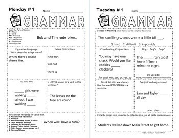 5 Minute Grammar A Quick Complete Approach to Grammar FREE WEEK