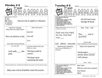 5 Minute Grammar Daily Practice 4th GRADE Complete Approach to Grammar