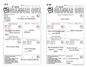5 Minute Grammar Daily Grammar Worksheets 4th GRADE Practice and Assessment