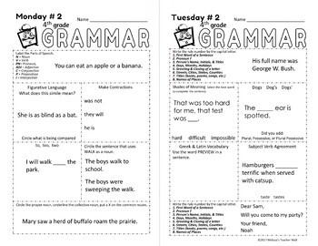 5 minute grammar daily grammar worksheets 4th grade practice and assessment. Black Bedroom Furniture Sets. Home Design Ideas
