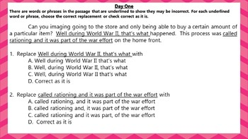 5 Minute Grammar Editing -- Weeks 29-32  -- Daily Language Conventions Practice