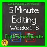 5 Minute Grammar Editing for TEST PREP - BUNDLE - Weeks 1 - 8