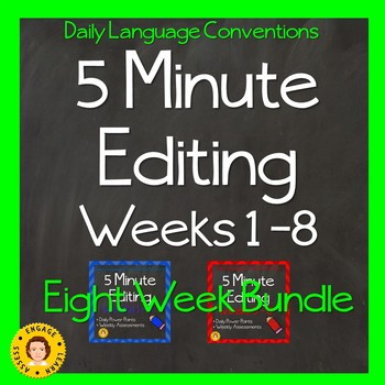 5 Minute Grammar Editing  BUNDLE One - Weeks 1 - 8 -Language Conventions