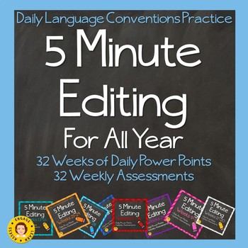 5 Minute Grammar Editing for the ENTIRE YEAR - Weeks 1 - 32 - Spiral Review