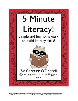 5 Minute Literacy: letters, reading, rhyming +more!