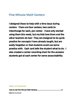 5-Minute Math Centers