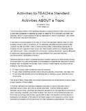 5-Minute PD:  Activities to TEACH a Standard vs. Activitie
