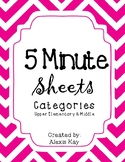 5 Minute Sheets (Categories)