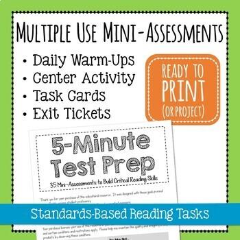 5-Minute Test Prep - 35 Mini-Assessments * Warm-Ups * Exit Tickets