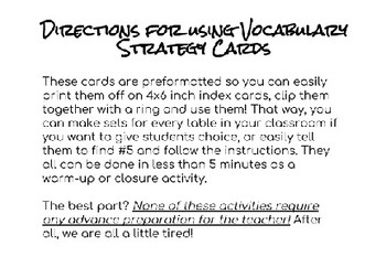5-Minute Vocabulary Strategies for Science and Math Teachers (printable cards)