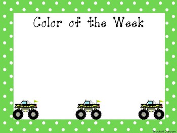 5 Monster Truck Themed Weekly Focus Posters.