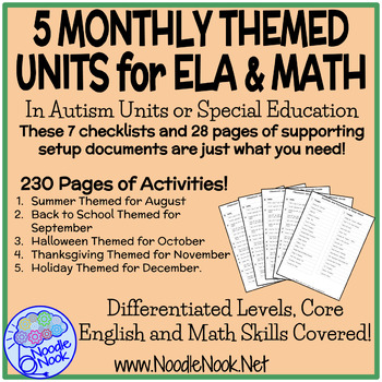 Bundle 5 Monthly Themed Units for Fall Semester in Autism Units or Early Elem