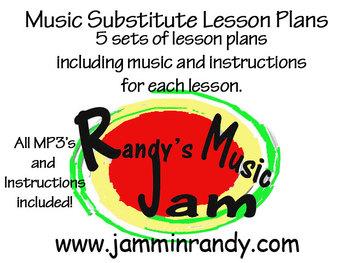 5 Music Substitute Lesson Plans (Bundle)