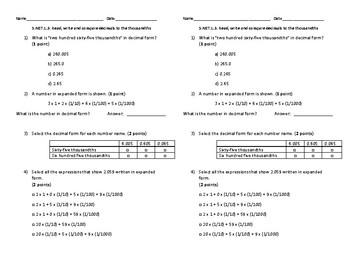 5.NBT.1.3 Expanded, Word, Standard Form Decimals Quiz/Exit Ticket