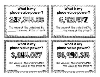 5.NBT.1 Math Station: Place Value Power {Compare Values}