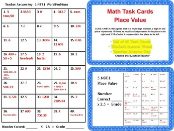 5.NBT.1 Place Value Task Cards