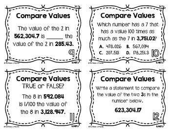 5.NBT.1 Task Cards {Set 2}: Compare Place Value