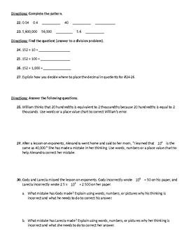 5.NBT.1 and 5.NBT.2 Quiz (Place Value Quiz)