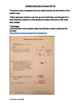 5NBT.7 Math Cornell Notes-Multiply by powers of 10