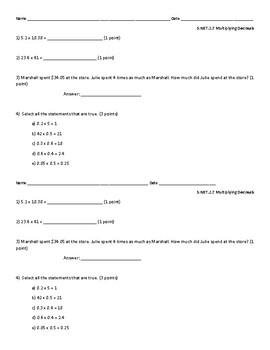 5.NBT.2.7 Multiplying Decimals Quiz/Exit Ticket