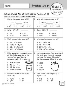5.NBT.2 Practice Sheets: Exponents & Powers of 10