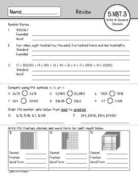 5.NBT.3 Assessment: Read, Write, & Compare Decimals