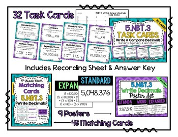 5.NBT.3 BUNDLE: Read, Write, & Compare Decimals