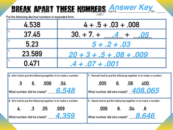 5.NBT.3 Break Apart Decimal Place Value