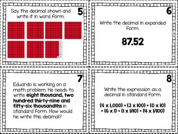 5.NBT.3 Forms of Decimals Task Cards