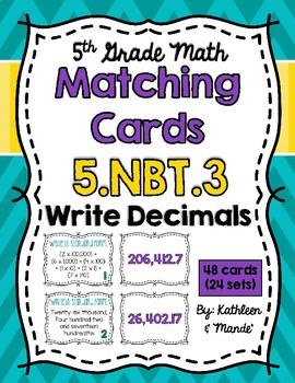 5.NBT.3 Matching Cards: Read & Write Decimals