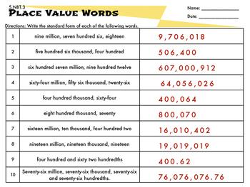 5.NBT.3 Place Value Words