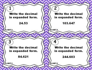5.NBT.3 Task Cards 5.NBT.3: Reading, Writing, and Comparing Decimals Task Cards