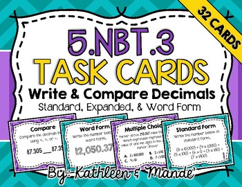 5.NBT.3 Task Cards: Write & Compare Decimals