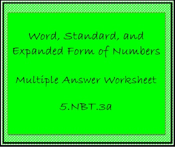 5.NBT.3a Place Value Worksheet, Multiple Answer Workseet