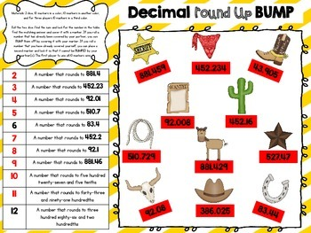"5.NBT.4 Decimal ""Round"" Up - Rounding Decimals BUMP Game"