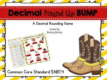 """5.NBT.4 Decimal """"Round"""" Up - Rounding Decimals BUMP Game"""