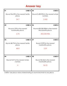 5th grade 5.NBT.4 weekly math review